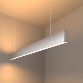 Линейный светодиодный подвесной двусторонний светильник 103см 40Вт 3000К матовое серебро 101-200-40-103
