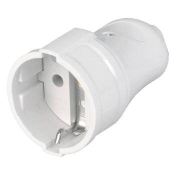 Розетка разборная прямая IEK 2P+PE 16А 250В с заземлением, белый, ERP10-16-01-K01